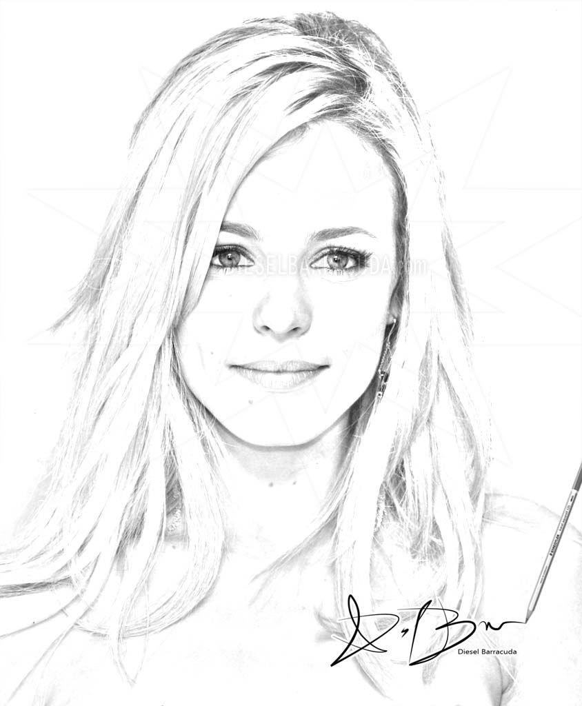 Rachel McAdams Digital Portrait Sketch 2