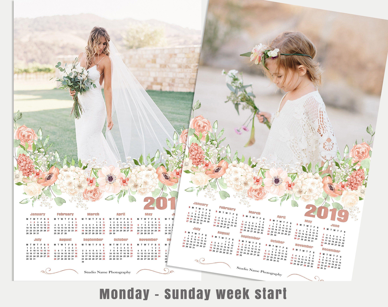2019 Calendar Template 12x18 Photo Calendar Photoshop Template