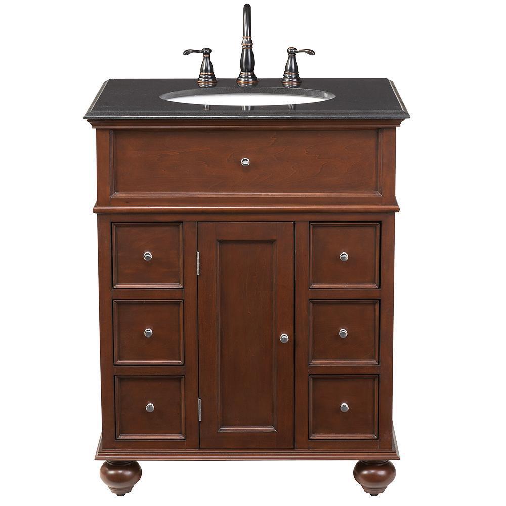 Home Decorators Collection Hampton Harbor 28 In W X 22 In D Bath Vanity In Sequoia With Granite Vanity Top In Black Bf 22267 Sq Granite Vanity Tops Marble Vanity Tops Home Depot Bathroom