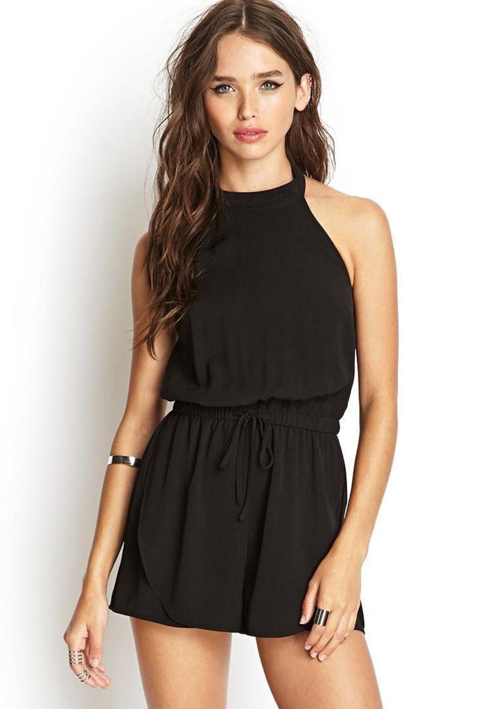 Black dress romper - Black Dress High Neck Rompers