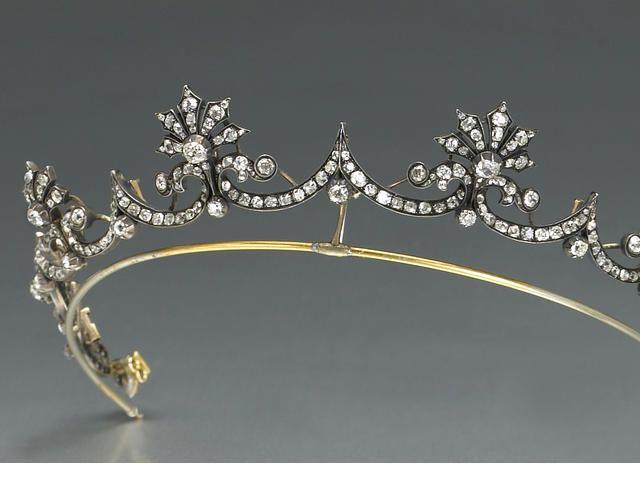 An Antique Diamond And Silver Topped Gold Tiara Circa