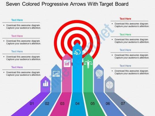 lp seven colored progressive arrows with target board flat powerpoint design Slide01