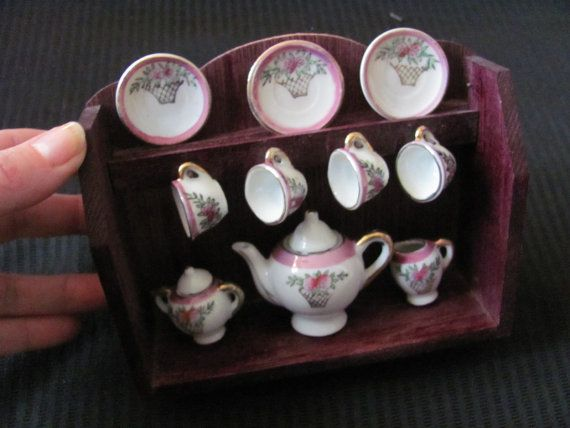 Miniature Wooden Wall Cabinet Tea Set Display for by LuvMeTwoTimes ...