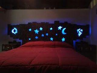 Tete De Lit Avec Led Bleu Etoile Et Lune Rangement En Palette Decoration Maison Idees De Decor