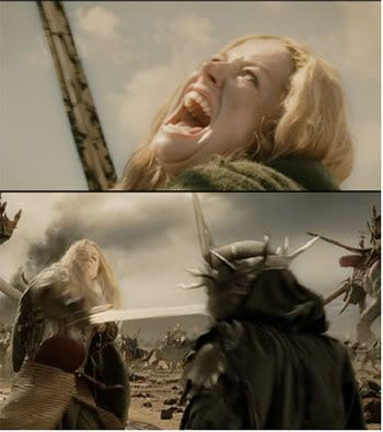 "love the whole lord of the rings series of books/movies.  This is one of my favorite scenes of the trilogy.  ""I am no man!"""