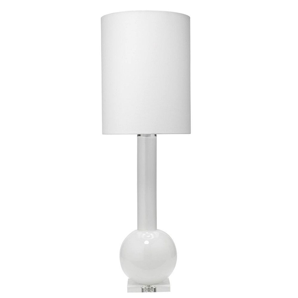 Tall Glass Table Lamp With Drum Shade U2013 White