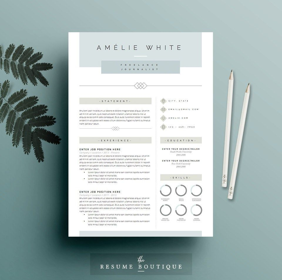 Resume Template 4 Pages Cv Template Cover Letter For Ms Word Instant Digital Download The Opal Cv Lettre De Motivation Modele Cv Lettre De Motivation