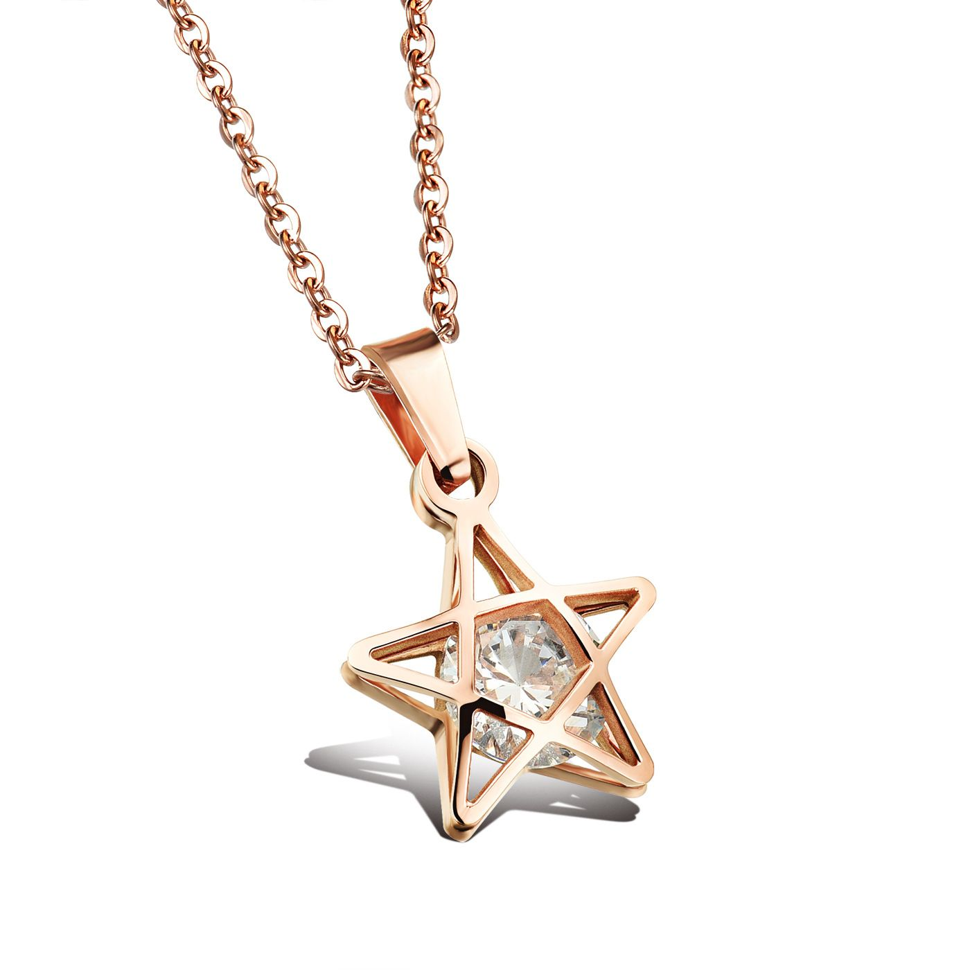 Romantic Fivepointed Star Pendant Necklaces Womens SilverRose Gold