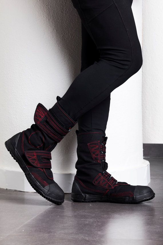 88070a0ea58b0 Fugu Japanese Unisex Vegan Cool Boots Red Stitch Black | Shoes I ...