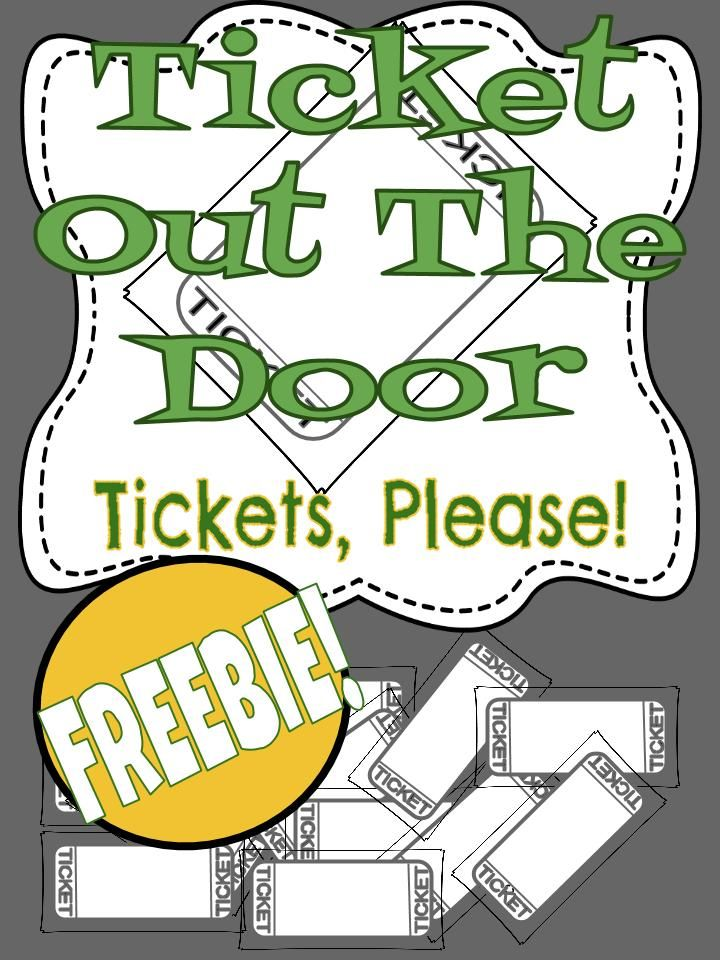 Freebie Template for Ticket Out the Door Print and Go! TpT FREE - print tickets free template