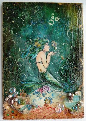 mixed media mermaid on scrapaffair #artjournalmixedmediainspiration