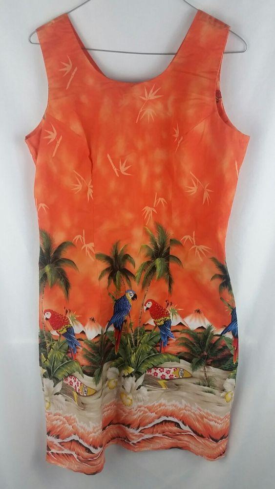 3cbcca4b KY'S Hawaiian Shift Dress Bright Orange Parrot Colorful Large #KYS #Shift