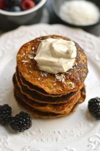 Sweet Potato Coconut Pancakes from myrecipemagic.com