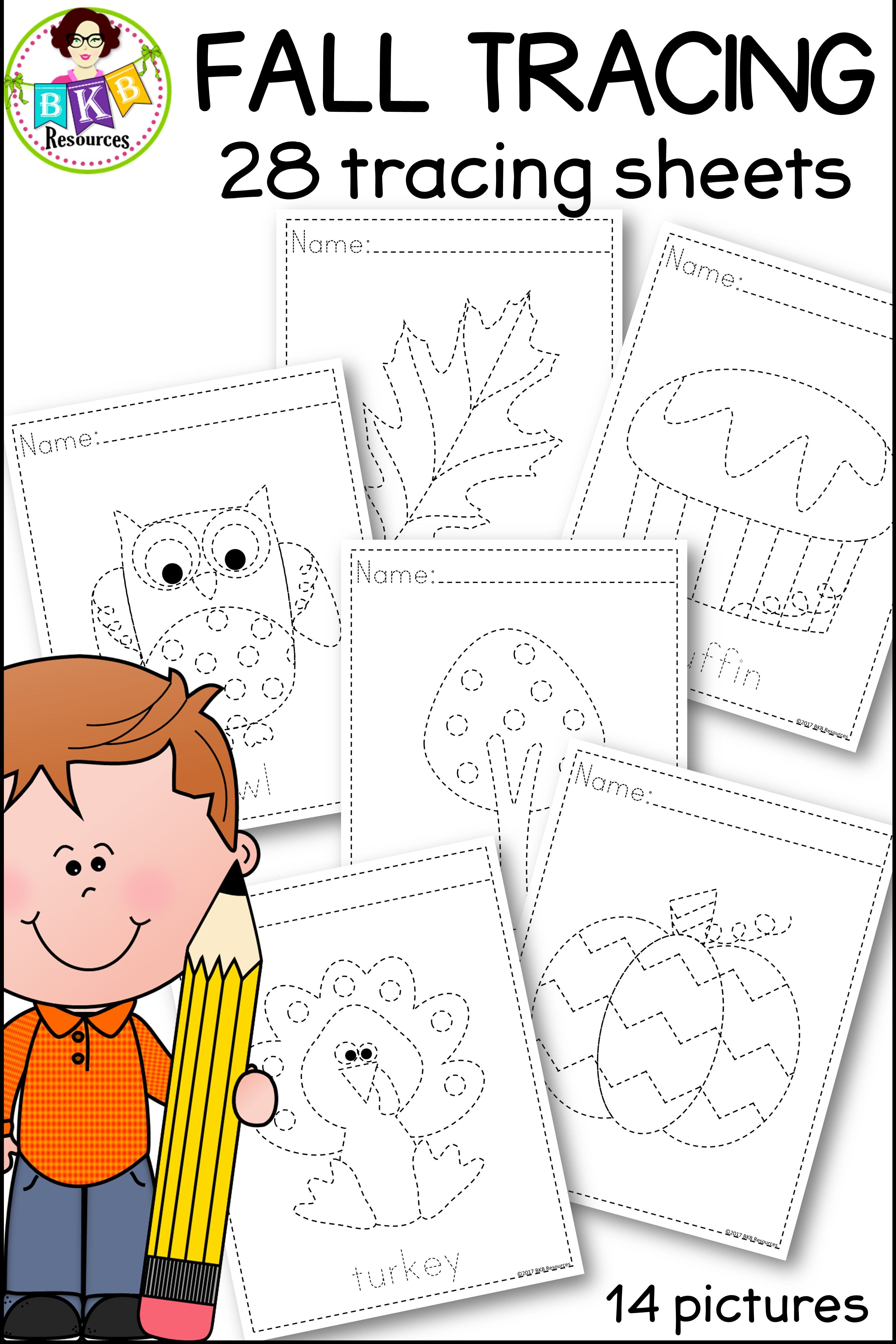 Tracing Activities Fall Picture Tracing Worksheets No Prep
