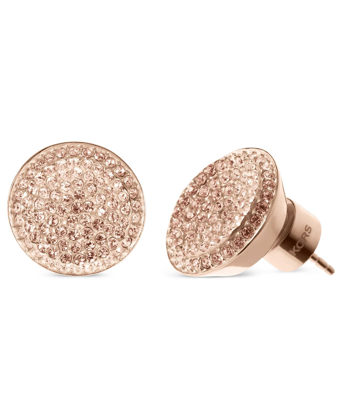 Michael Kors Earrings Rose GoldTone Concave Glass Pave Stud