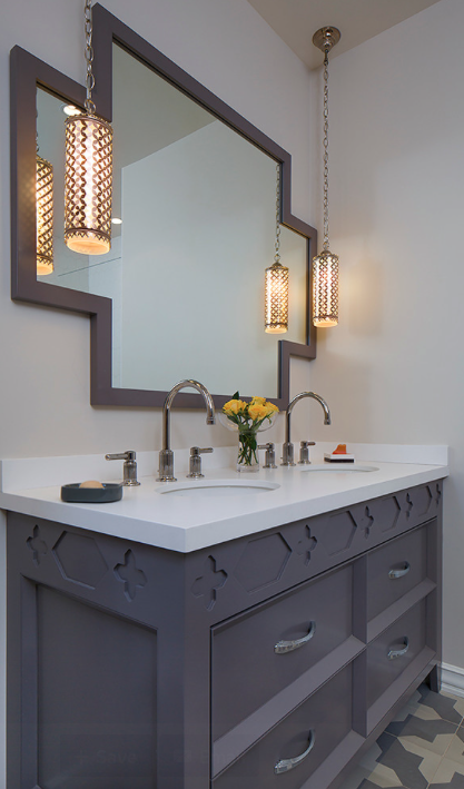 Grey Vanity with quatrefoil inspired detail. Artistic Designs for Living, Tineke Triggs Interior Designers & Decorators