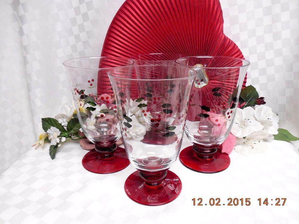 Pfaltzgraff Winterberry Dinnerware Glassware set 4 Hand Painted water Goblet(s) #pfaltzgraff & Pfaltzgraff Winterberry Dinnerware Glassware set 4 Hand Painted ...