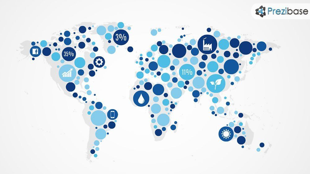 World Map Dotted Circles Infographic Prezi Template Presentation