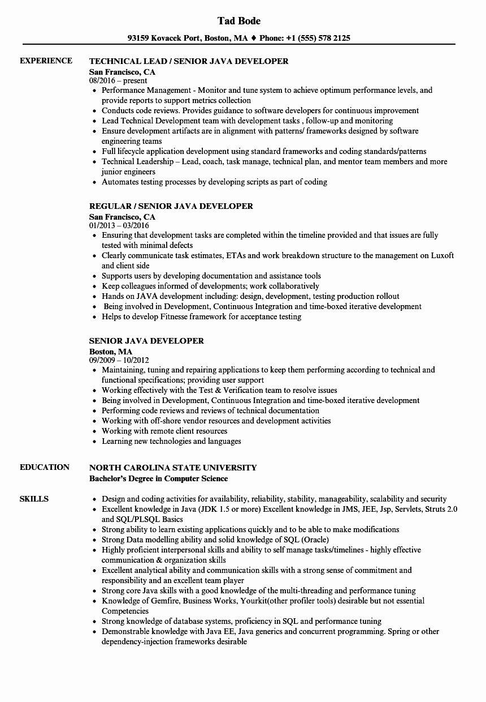 Java Full Stack Developer Resume Inspirational Senior Java Developer Resume Samples Resume Examples Job Resume Samples Executive Resume