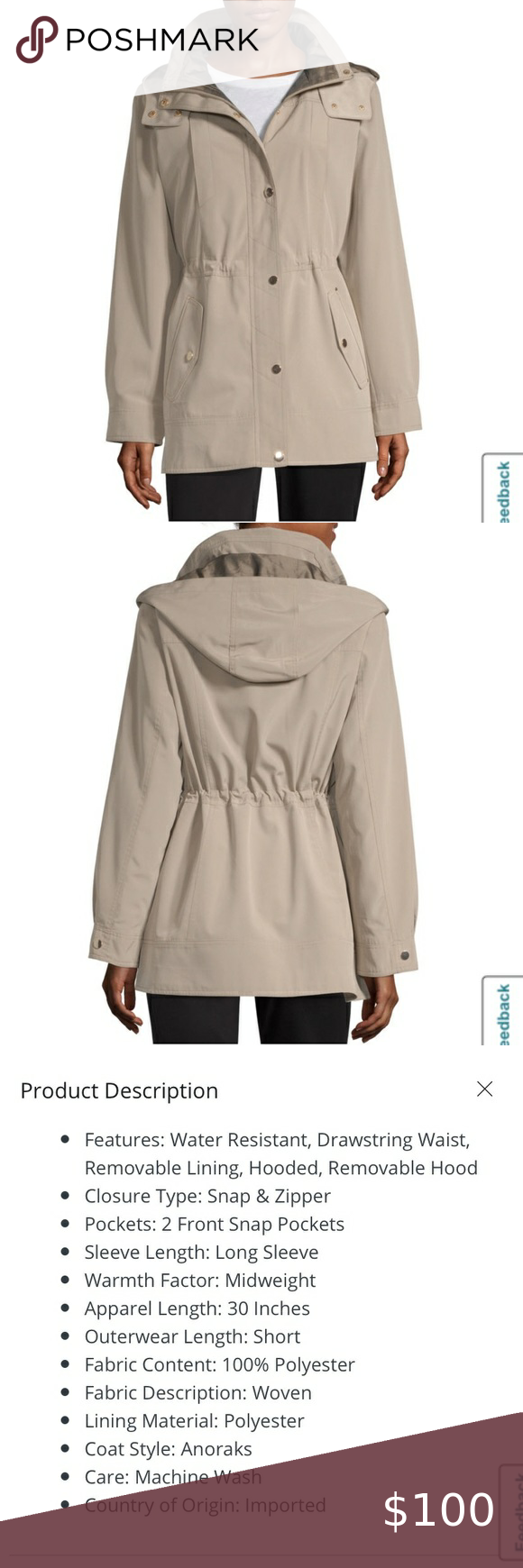 Liz Claiborne Hooded Water Resistant Anorak Jacket Anorak Jacket Anorak Liz Claiborne [ 1740 x 580 Pixel ]