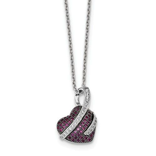 Sterling Silver Pink & White CZ Brilliant Embers Polished Heart Necklace