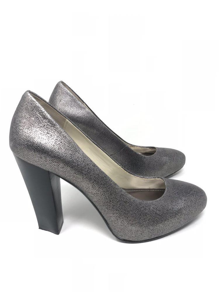 b0a856be7e CALVIN KLEIN ELITA Mini Platform Pumps Leather Metallic Silver Womens Size  8 M   eBay