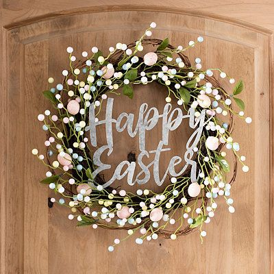 Photo of Floral and Metal Happy Easter Wreath