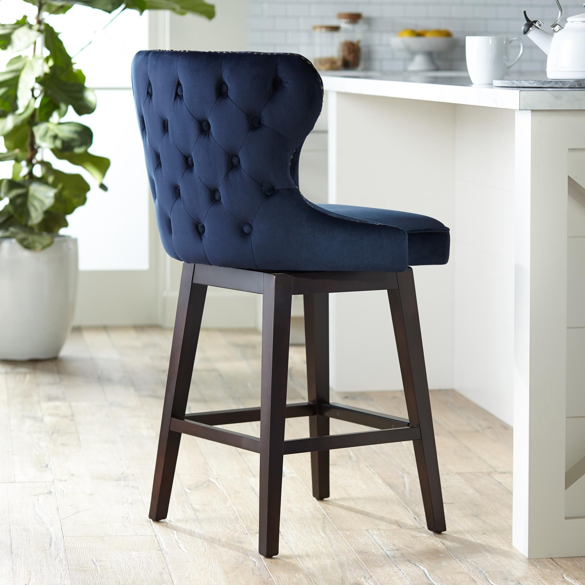 Ariana 25 And One Half Inch Brass Trimmed Navy Blue Swivel Counter Stool Swivel Counter Stools Counter Stools Blue Bar Stools