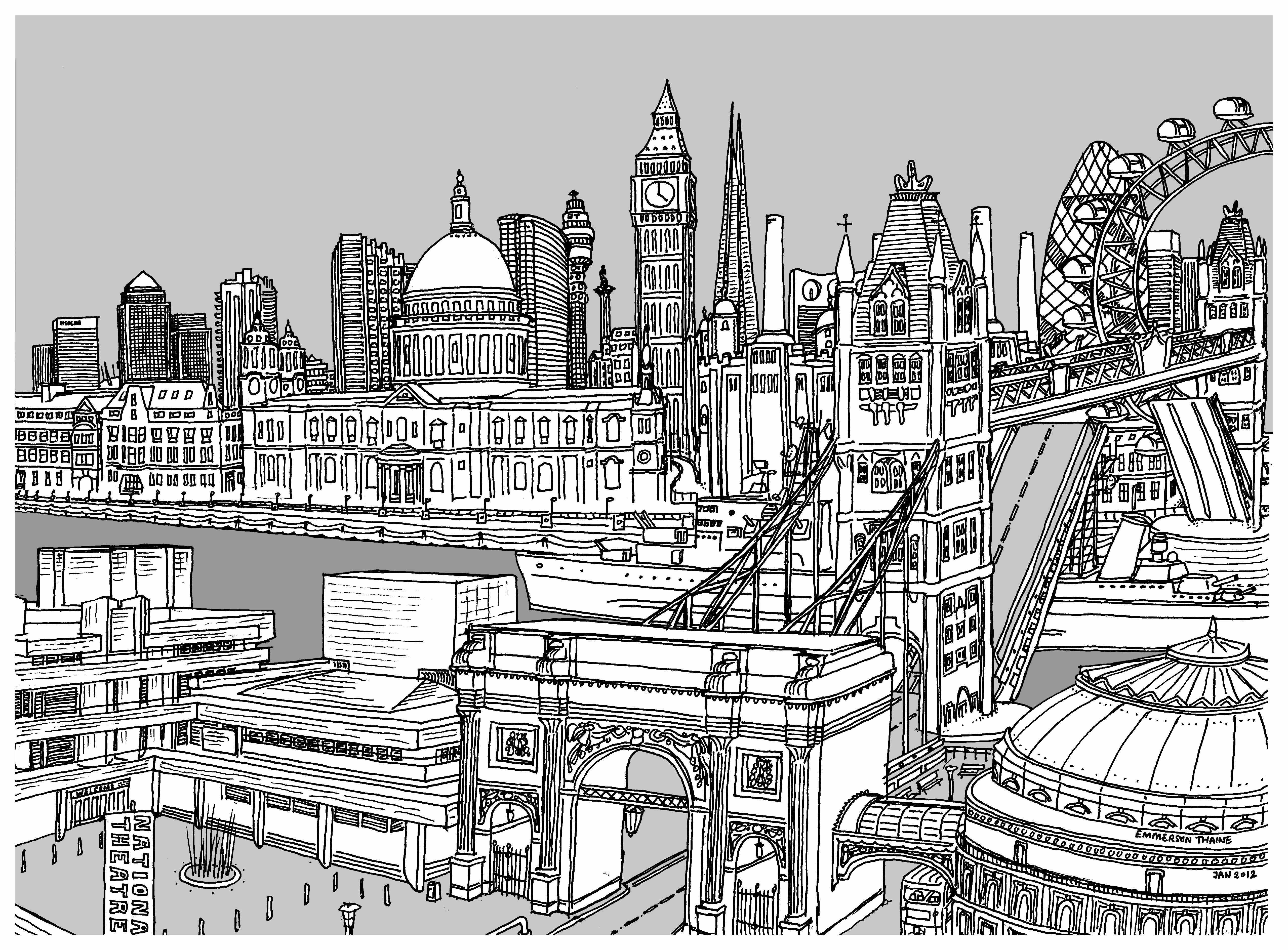 Line Art Limited : City rise b w indigo print line drawing a