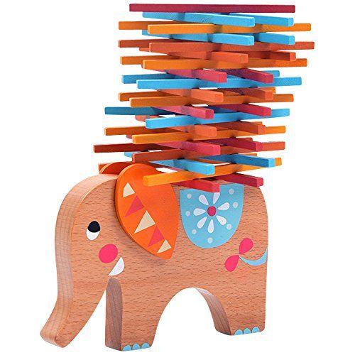 Natureich Elefant Montessori Stapel Spielzeug aus Holz zum Geschicklichkeit Lern Motorikspielzeug