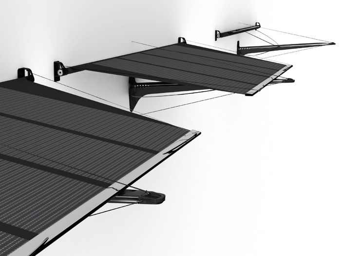 Molla S Flexible Thin Film Solar Cells Are Mounted To A Steel Frame Which Means It Is Lightweight And Won Steel Frame Doors Steel Frame Door Awnings
