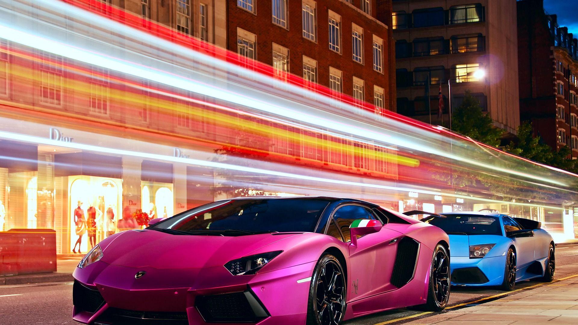 Pink and Blue Lamborghini HD Widescreen Wallpapers Car