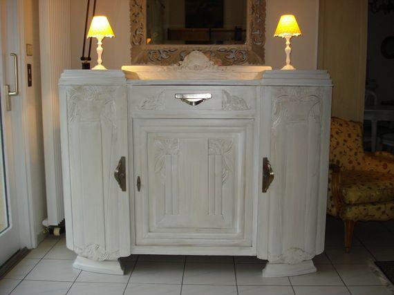 un buffet de style art d co repeint et patin pour une nouvelle vie peintures et patines. Black Bedroom Furniture Sets. Home Design Ideas