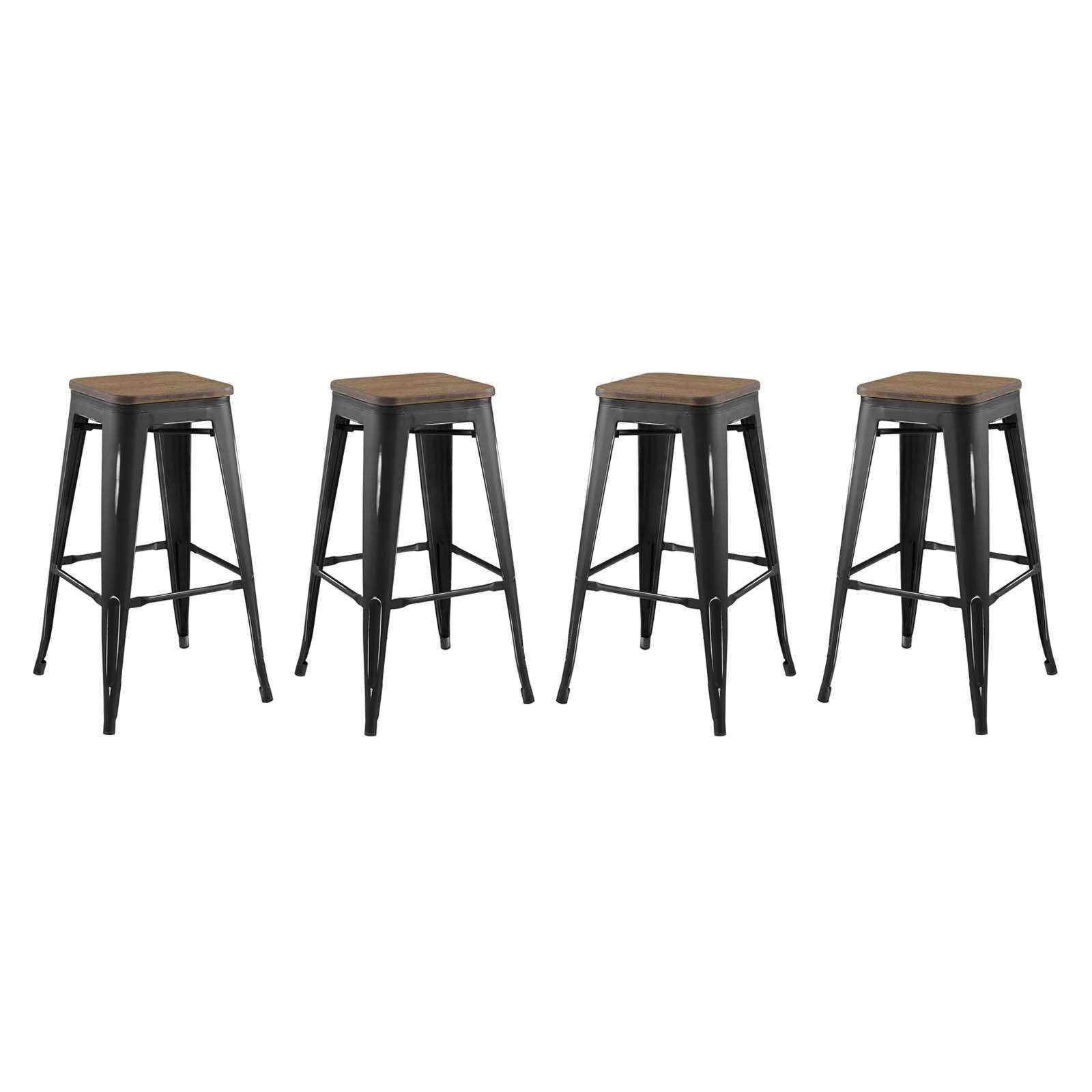 Promenade Bar Stool Set Of 4 In Black In 2021 Metal Bar Stools Modern Bar Stools Metal Counter Stools Bar stool sets of 4