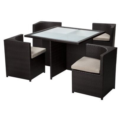 Threshold Rolston 5 Piece Wicker Patio Square Dining Furniture Set Looks Like You Could Push Chairs In And Have A Closed Cube