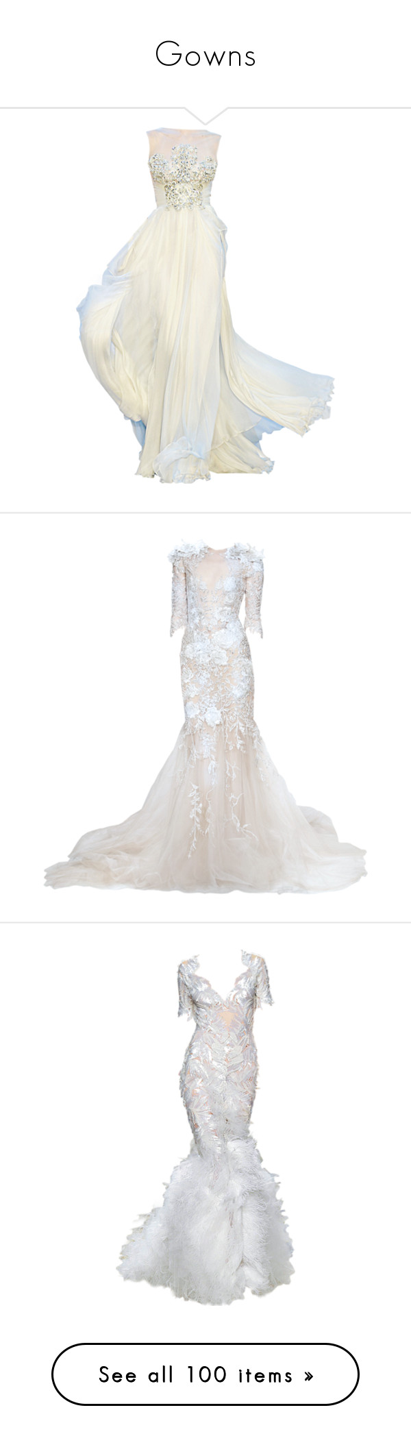 """""""Gowns"""" by dianabanana ❤ liked on Polyvore featuring dresses, gowns, long dresses, vestidos, white ball gowns, long white dress, elie saab gowns, elie saab dresses, wedding and marchesa dresses"""