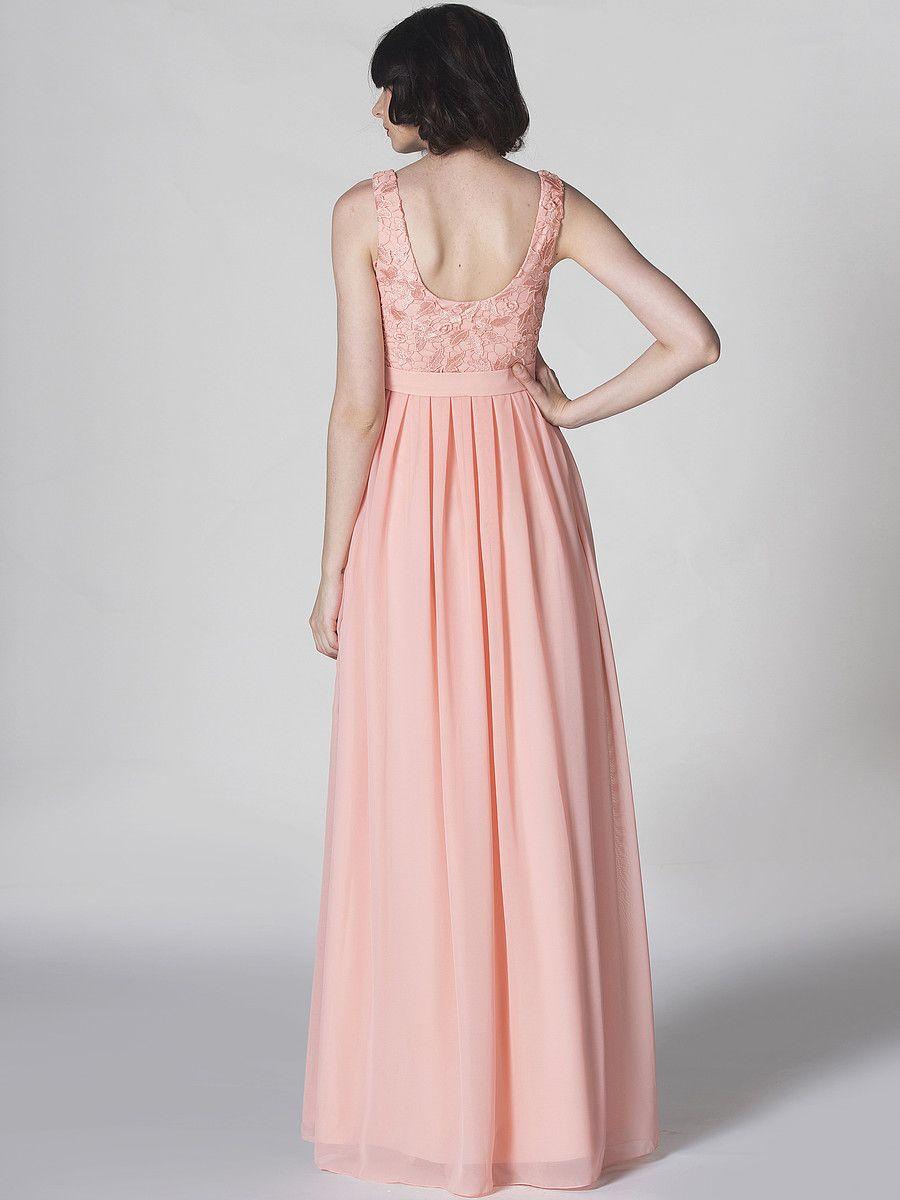 Lace and Chiffon U-Back Dress; Color: Apricot Blush; Fabric: Chiffon ...