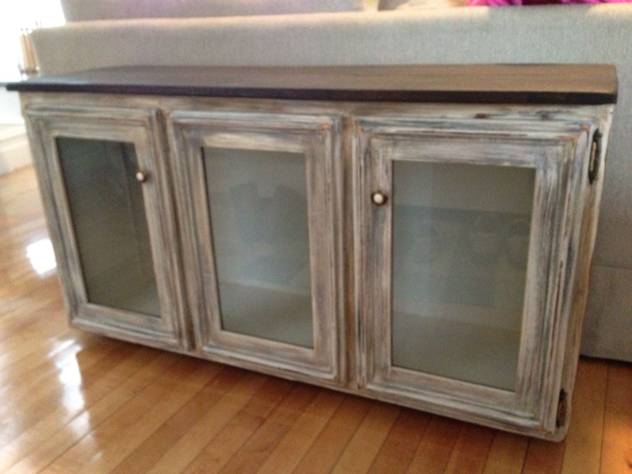 After tv console in a distressed driftwood finish furniture after tv console in a distressed driftwood finish geotapseo Images