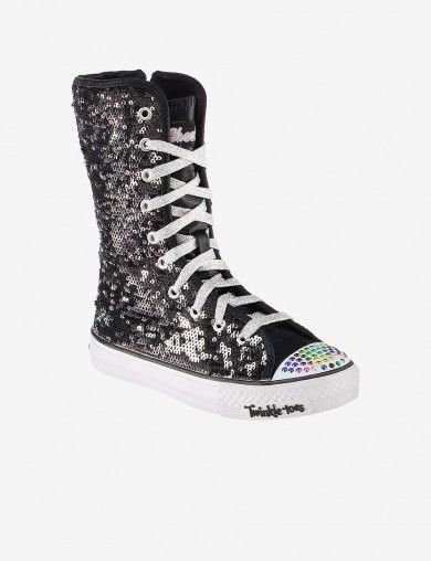 Twinkle Toes High Tops Black And Sparkly Girls Sneakers High