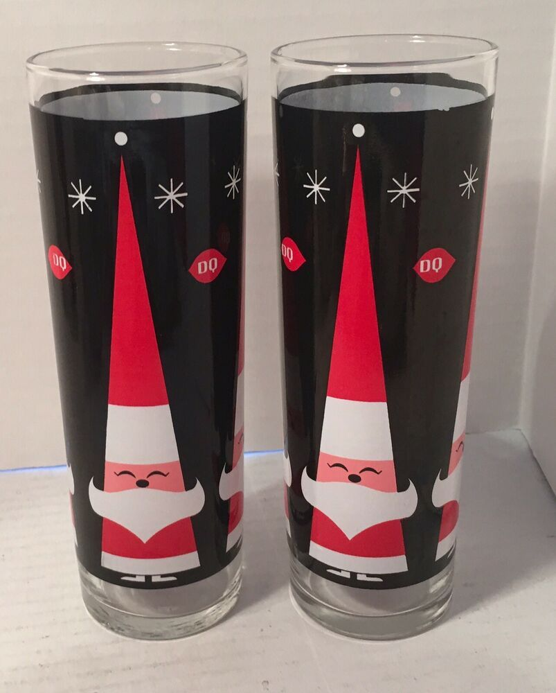 Dairy Queen Dq Tall Santa Glasses Lot 2 Christmas Drink Glass Dairyqueen Christmas Glasses Christmas Drinks Christmas Tumblers