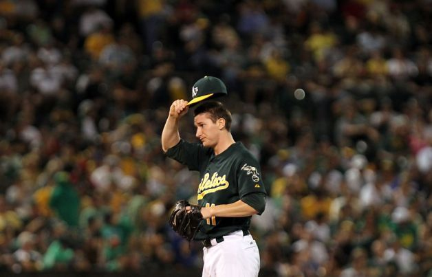 Oakland Athletics starting pitcher Jarrod Parker works in the third inning of their MLB baseball game against the Texas Rangers Monday October 1, 2012 in Oakland California Photo: Lance Iversen, The Chronicle / SF