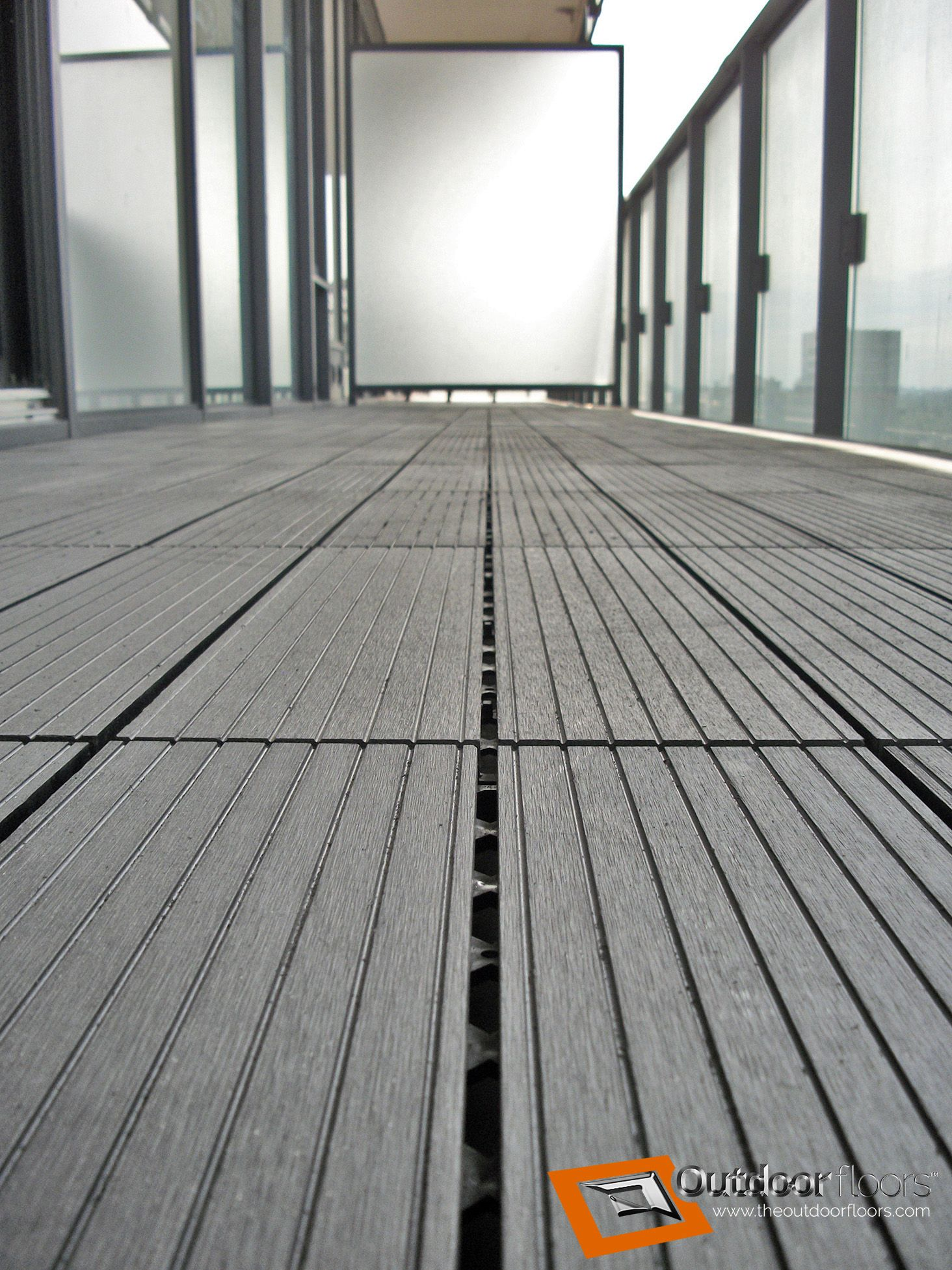 Closeup Photo Of Our Dark Grey Ridged Balcony Flooring Tiles