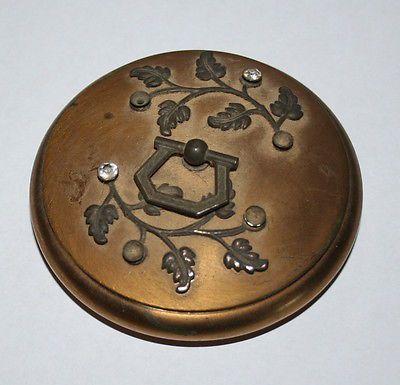"""Vintage Antique 3"""" Metal Brass Bronze Powder Box Paste Stones - Victorian?"""