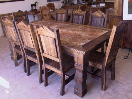 Western rustic dining table  Love the table  not so much the chairs. Western rustic dining table  Love the table  not so much the