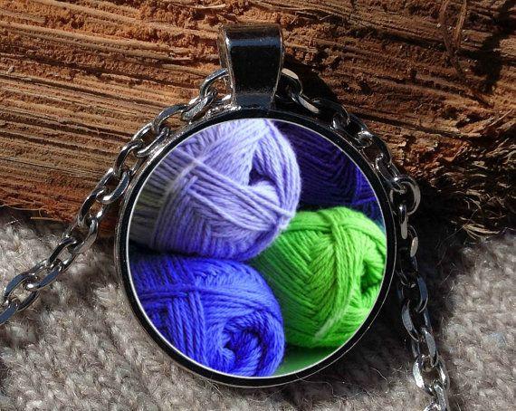 Yarn pendant Yarn necklace Yarn jewelry Crochet necklace by Aranji