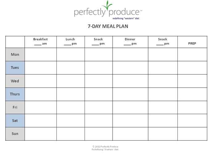 Perfectly Produce  Free Day Meal Planning Template My Favorite