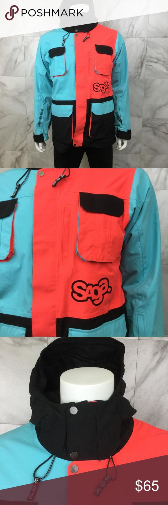 Saga Mens Colorblock Ski Coat Size M Saga Winter Ski Coat With Full Front Zipper And Velcro Anomie 2l Series Neon Colorblock Sty Fashion Ski Coat How To Wear [ 1740 x 580 Pixel ]