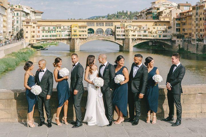 Wedding party - Navy blue mismatches bridesmaid dress and pure white wedding bouquets for a Breathtaking Fairytale Venice Wedding + Steven Khalil wedding dress | itakeyou.co.uk #wedding #venicewedding #destinationwedding #elegantwedding #white #goldwedding #fairytalewedding