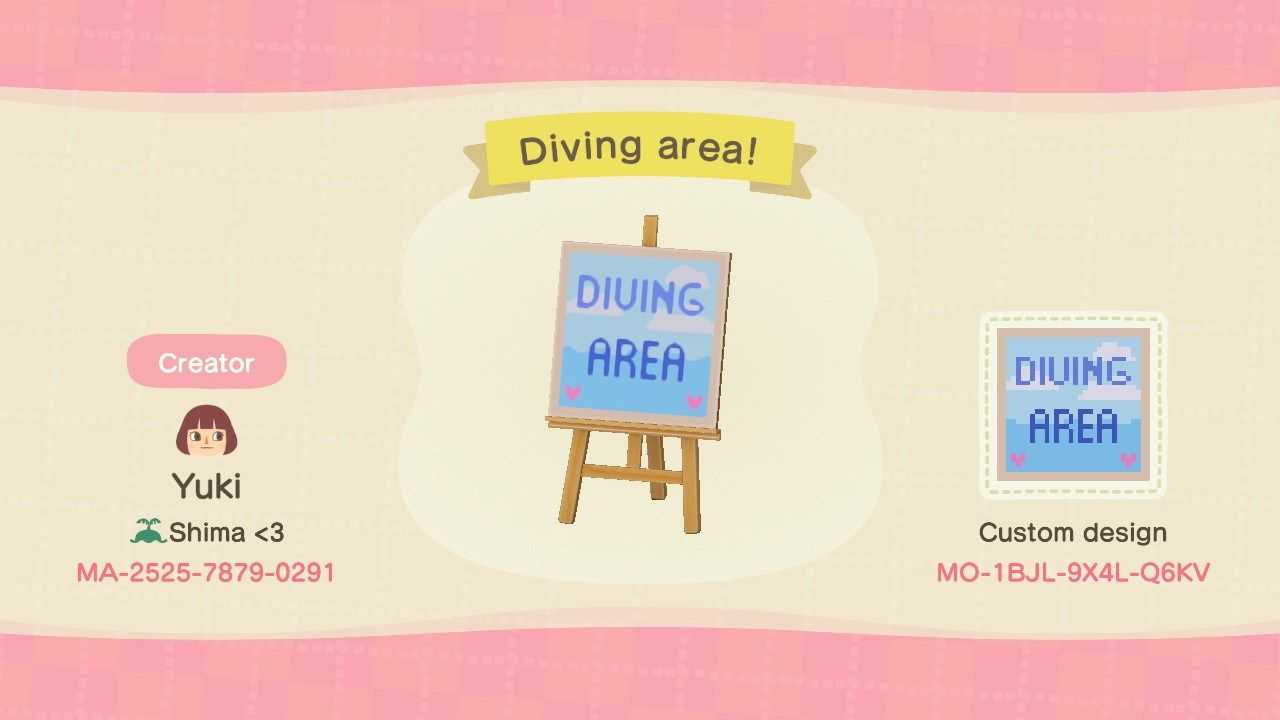 Diving Area Rules Signs Animal Crossing Pattern Gallery Custom Designs In 2020 Animal Crossing Animal Crossing Qr Qr Codes Animal Crossing