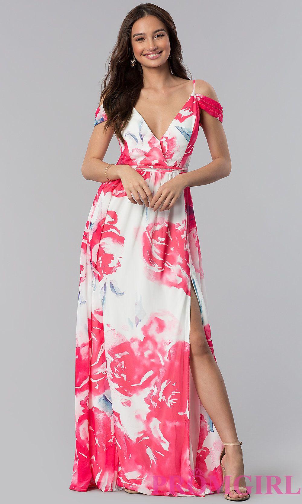 ColdShoulder FloralPrint Long WeddingGuest Dress
